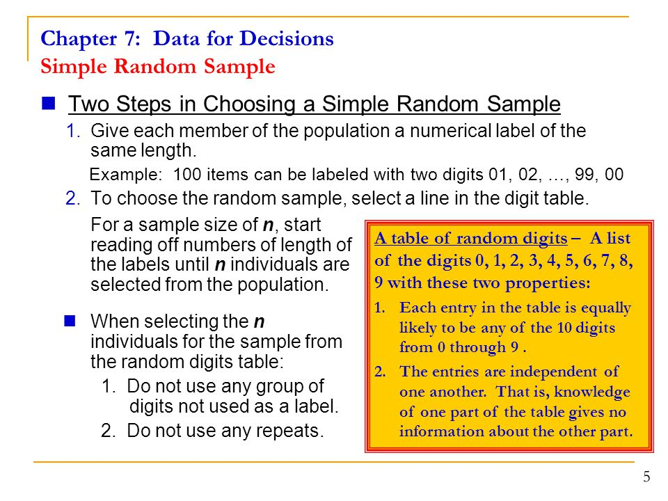 Chapter 7: Data for Decisions Simple Random Sample Two Steps in Choosing a Simple Random Sample 1.Give each member of the population a numerical label