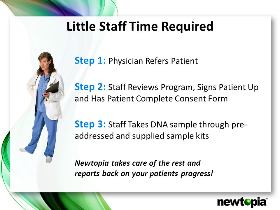 Little Staff Time Required Step 1: Physician Refers Patient Step 2: Staff Reviews Program, Signs Patient Up and Has Patient Complete Consent Form Step 3: Staff Takes DNA sample through pre- addressed and supplied sample kits Newtopia takes care of the rest and reports back on your patients progress!