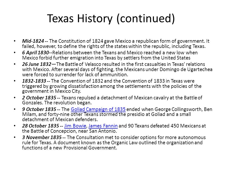Mid-1824 -- The Constitution of 1824 gave Mexico a republican form of government.