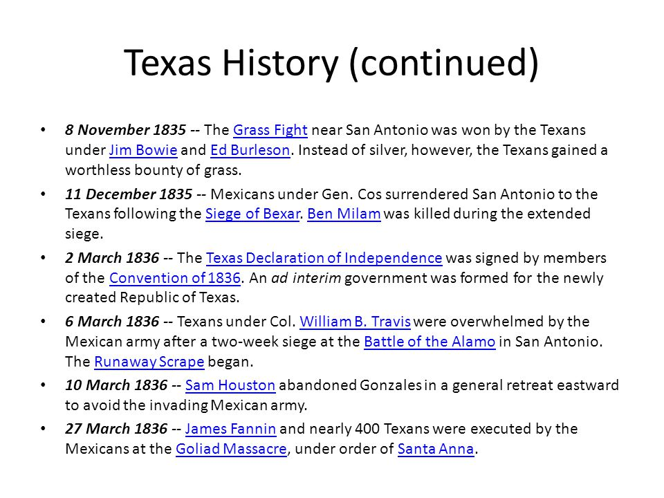 8 November 1835 -- The Grass Fight near San Antonio was won by the Texans under Jim Bowie and Ed Burleson.