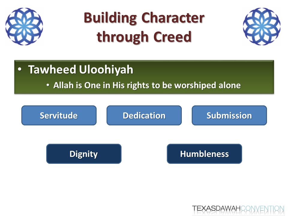 Building Character through Creed Tawheed Uloohiyah Tawheed Uloohiyah Allah is One in His rights to be worshiped alone Allah is One in His rights to be worshiped alone Tawheed Uloohiyah Tawheed Uloohiyah Allah is One in His rights to be worshiped alone Allah is One in His rights to be worshiped alone ServitudeDedicationSubmission HumblenessDignity