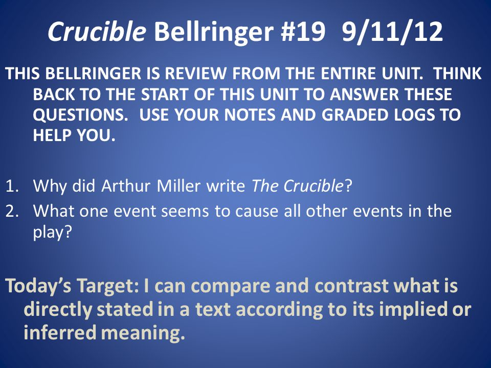 Crucible Bellringer #199/11/12 THIS BELLRINGER IS REVIEW FROM THE ENTIRE UNIT.