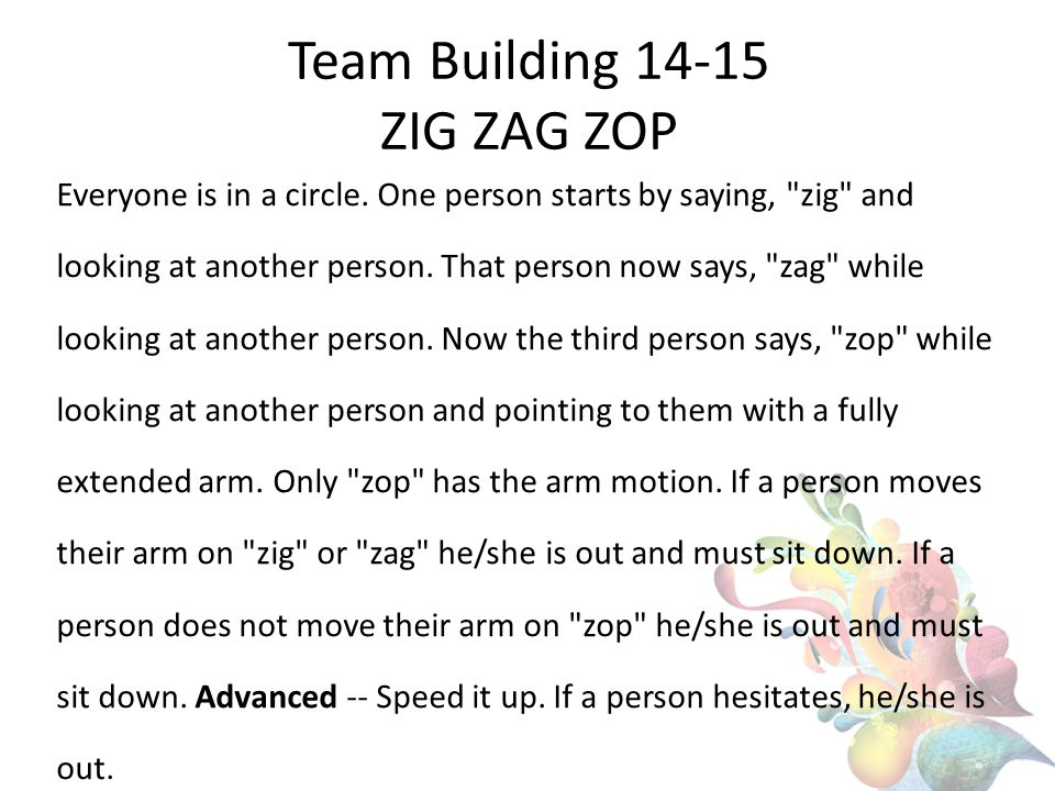 Team Building 14-15 ZIG ZAG ZOP Everyone is in a circle.