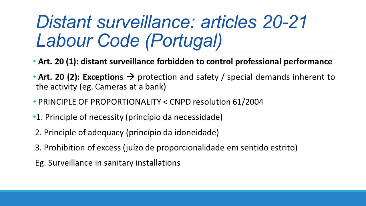 Distant surveillance: articles 20-21 Labour Code (Portugal) Art.