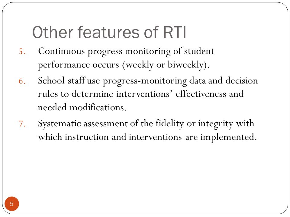 6 Tier I Tier II Tier III Universal intervention: Available to all students Example: Additional classroom literacy instruction Individualized Intervention: Students who need additional support than peers are given individual intervention plans.