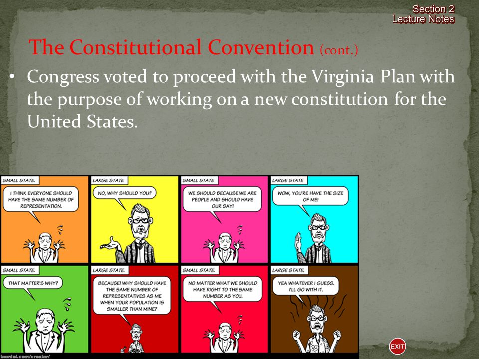 Congress voted to proceed with the Virginia Plan with the purpose of working on a new constitution for the United States.