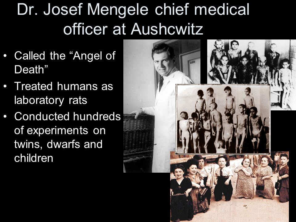 """Dr. Josef Mengele chief medical officer at Aushcwitz Called the """"Angel of Death"""" Treated humans as laboratory rats Conducted hundreds of experiments o"""