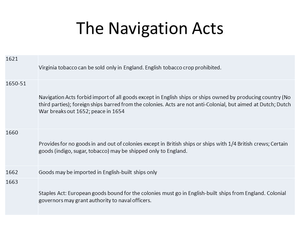 The Navigation Acts 1621 Virginia tobacco can be sold only in England.