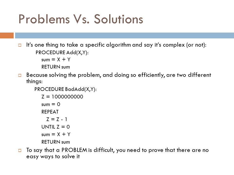 Problems Vs.