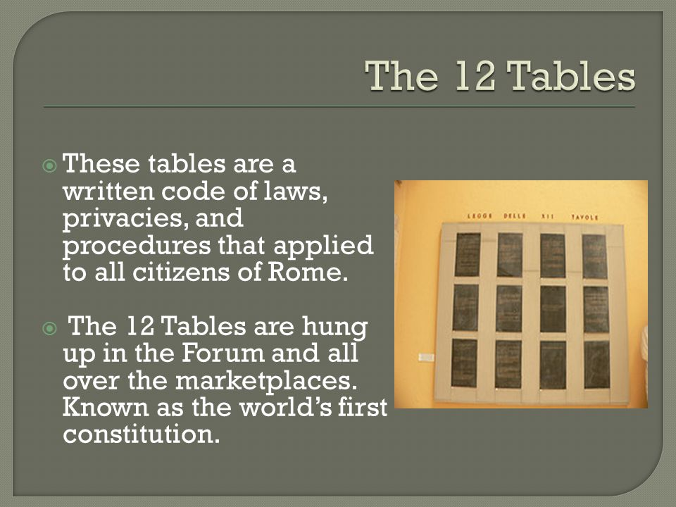  These tables are a written code of laws, privacies, and procedures that applied to all citizens of Rome.