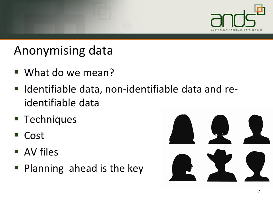 Anonymising data  What do we mean.
