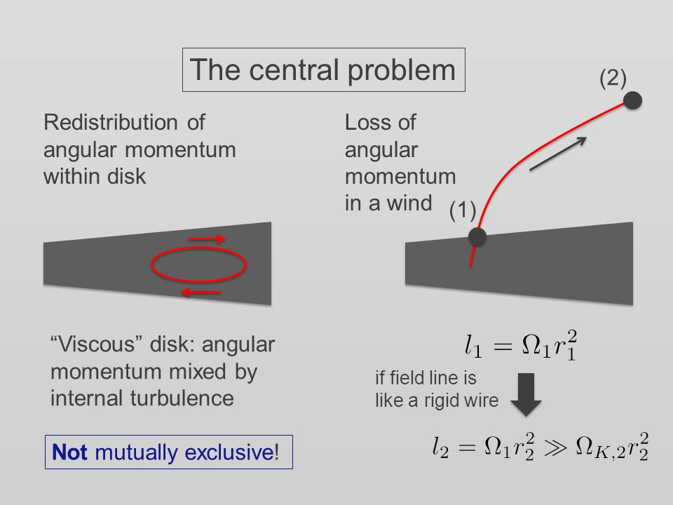 The central problem Redistribution of angular momentum within disk Loss of angular momentum in a wind (1) (2) if field line is like a rigid wire Viscous disk: angular momentum mixed by internal turbulence Not mutually exclusive!