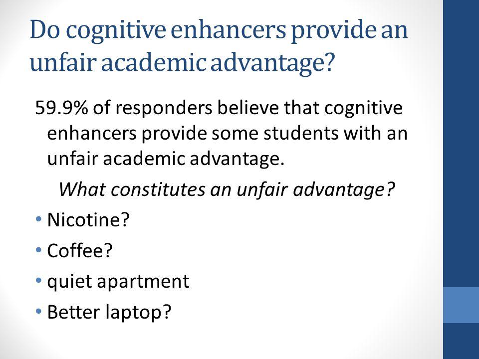 Do cognitive enhancers provide an unfair academic advantage? 59.9% of responders believe that cognitive enhancers provide some students with an unfair