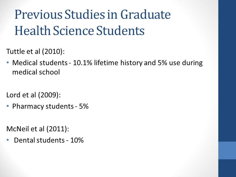 Previous Studies in Graduate Health Science Students Tuttle et al (2010): Medical students - 10.1% lifetime history and 5% use during medical school Lord et al (2009): Pharmacy students - 5% McNeil et al (2011): Dental students - 10%