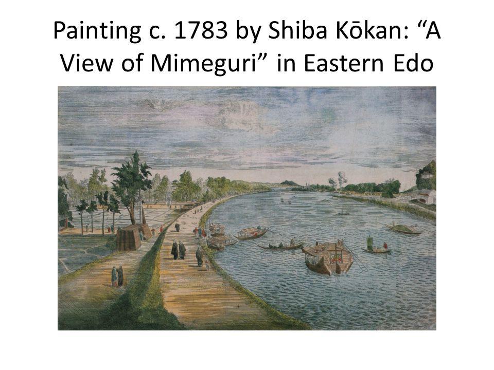 "Painting c. 1783 by Shiba Kōkan: ""A View of Mimeguri"" in Eastern Edo"