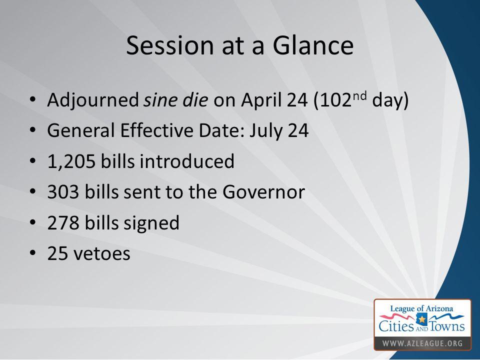 Session at a Glance Adjourned sine die on April 24 (102 nd day) General Effective Date: July 24 1,205 bills introduced 303 bills sent to the Governor 278 bills signed 25 vetoes