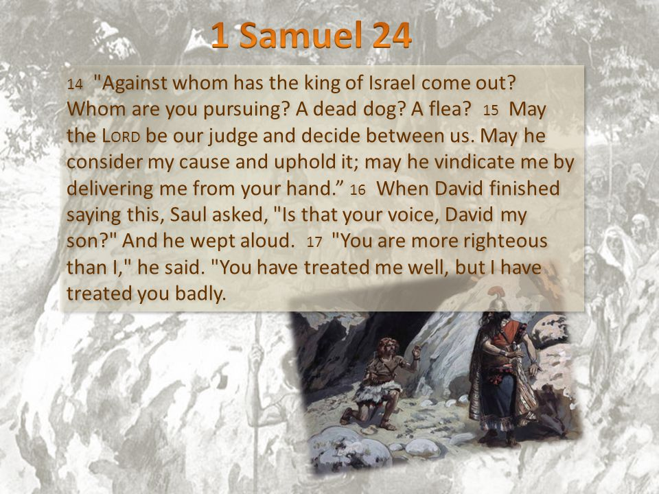 14 Against whom has the king of Israel come out. Whom are you pursuing.