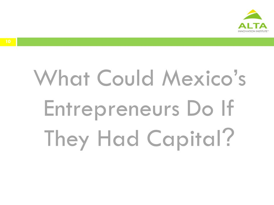 What Could Mexico's Entrepreneurs Do If They Had Capital ? 10