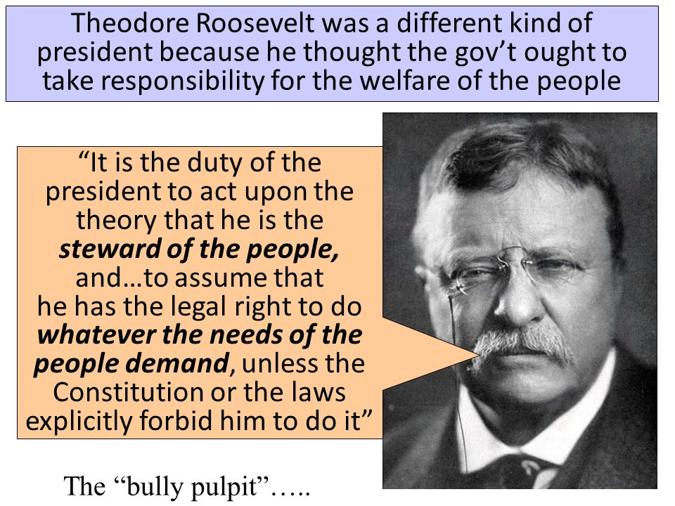 In 1901, Republican President William McKinley was assassinated... …Vice President Theodore Roosevelt became president