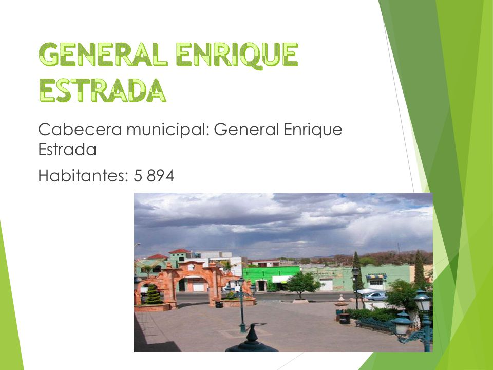 Cabecera municipal: General Enrique Estrada Habitantes: 5 894
