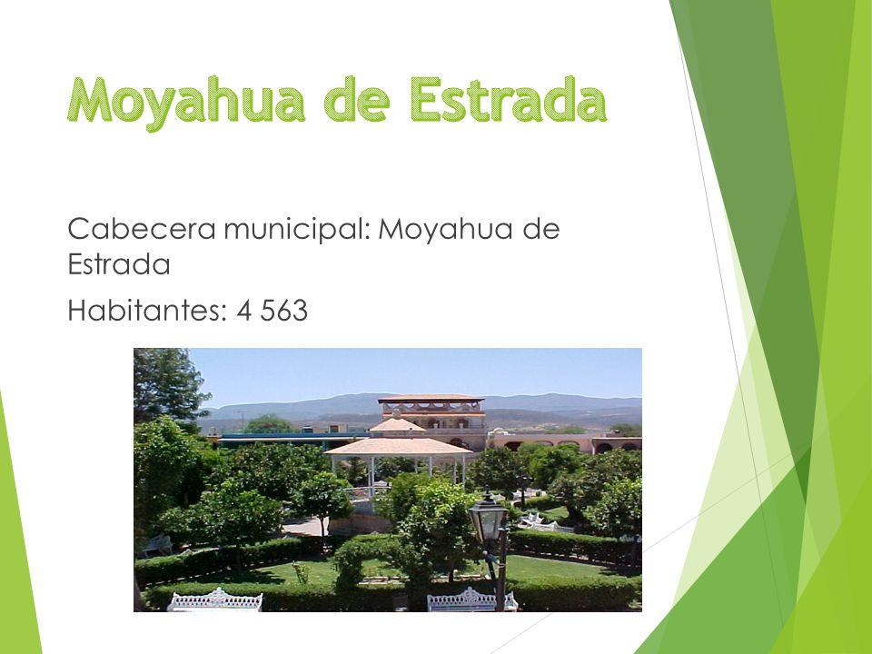 Cabecera municipal: Moyahua de Estrada Habitantes: 4 563