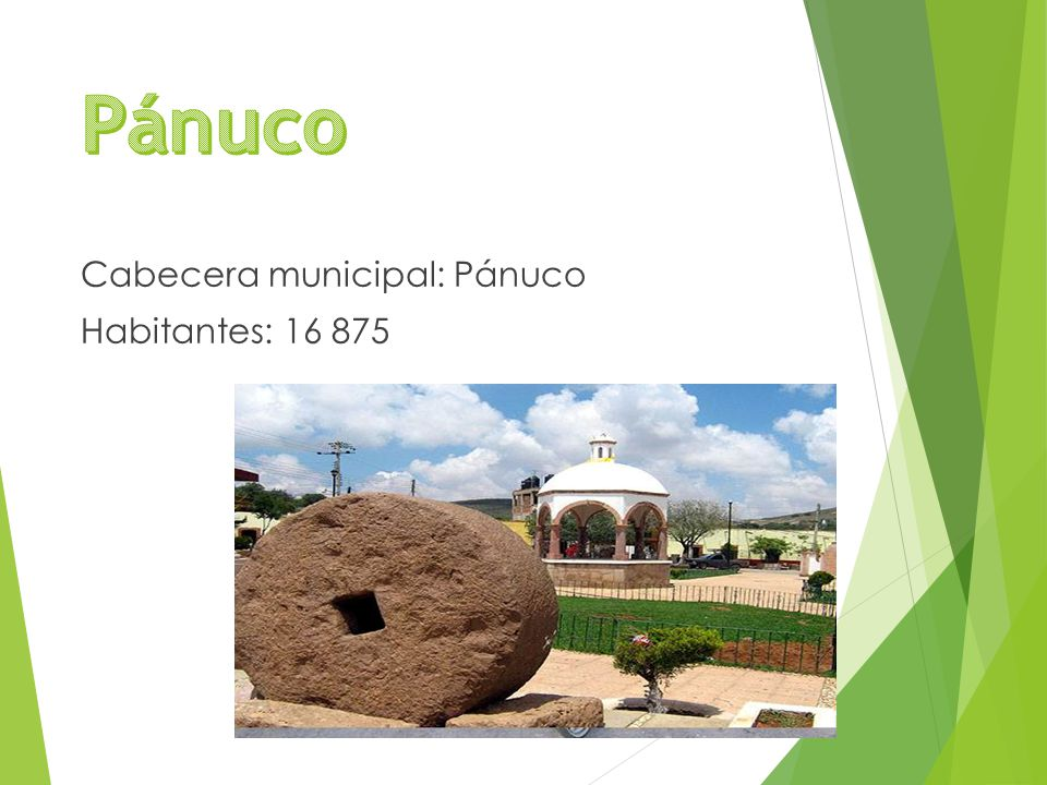 Cabecera municipal: Pánuco Habitantes: 16 875