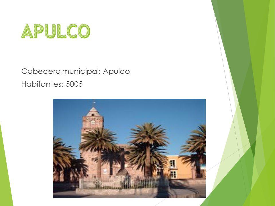 Cabecera municipal: Apulco Habitantes: 5005