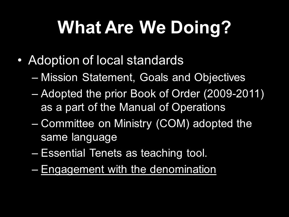What Are We Doing? Adoption of local standards –Mission Statement, Goals and Objectives –Adopted the prior Book of Order (2009-2011) as a part of the