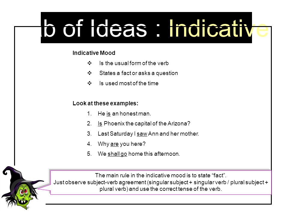 Tab of Ideas : Indicative Indicative Mood  Is the usual form of the verb  States a fact or asks a question  Is used most of the time Look at these