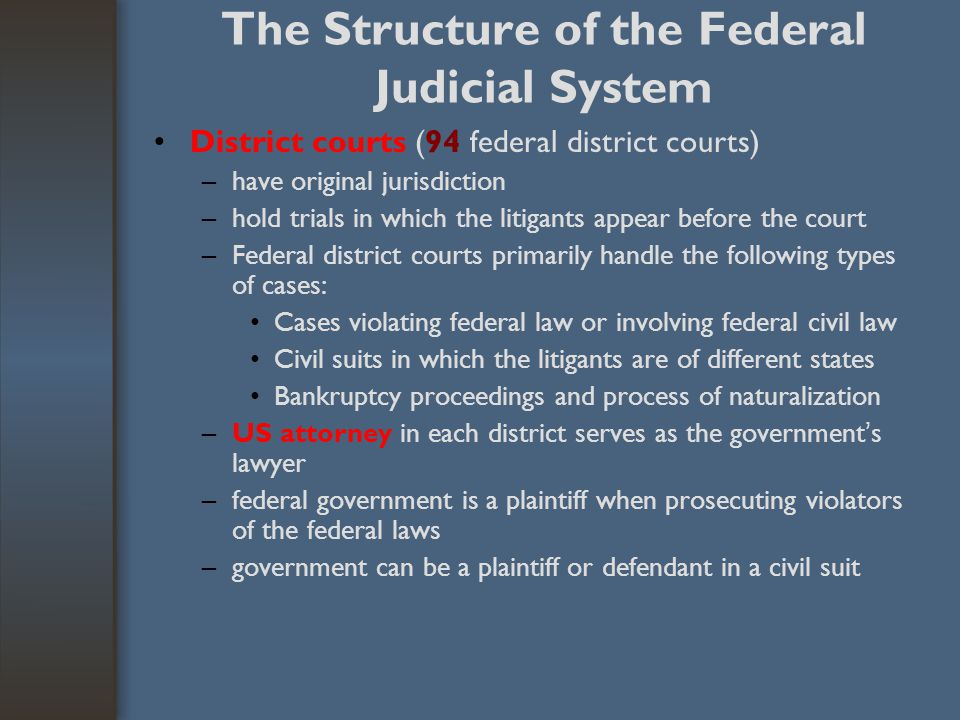 The Structure of the Federal Judicial System District courts (94 federal district courts) –have original jurisdiction –hold trials in which the litiga