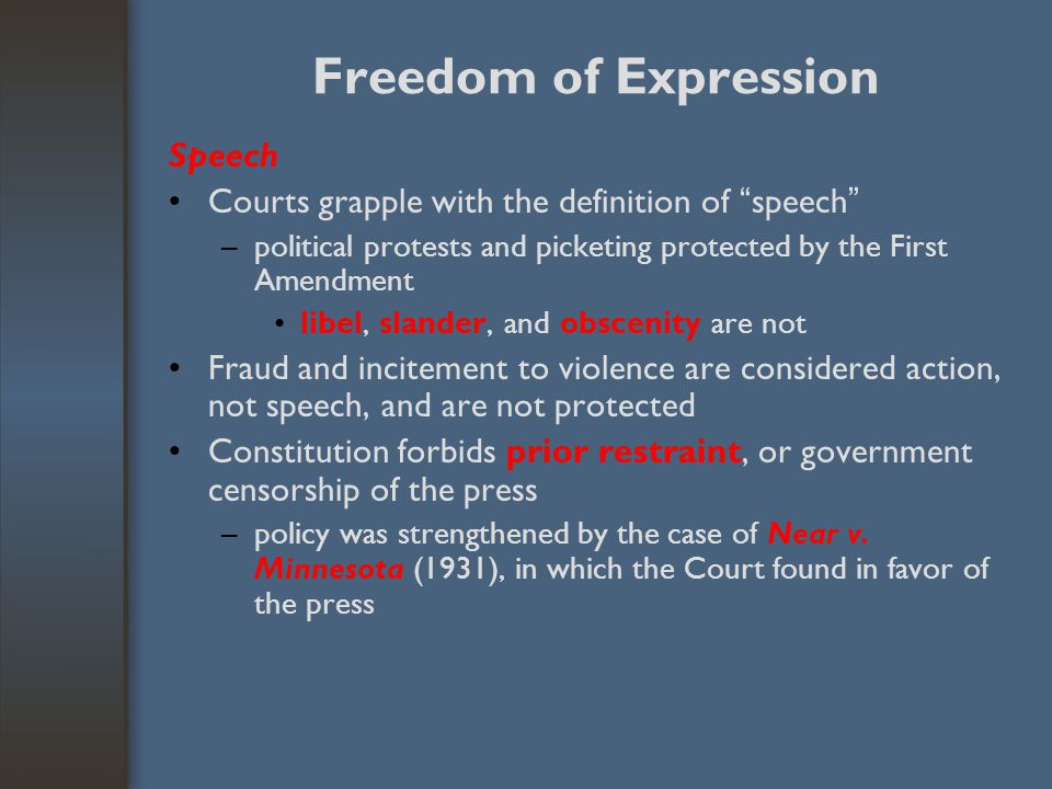 "Freedom of Expression Speech Courts grapple with the definition of "" speech "" –political protests and picketing protected by the First Amendment libel"