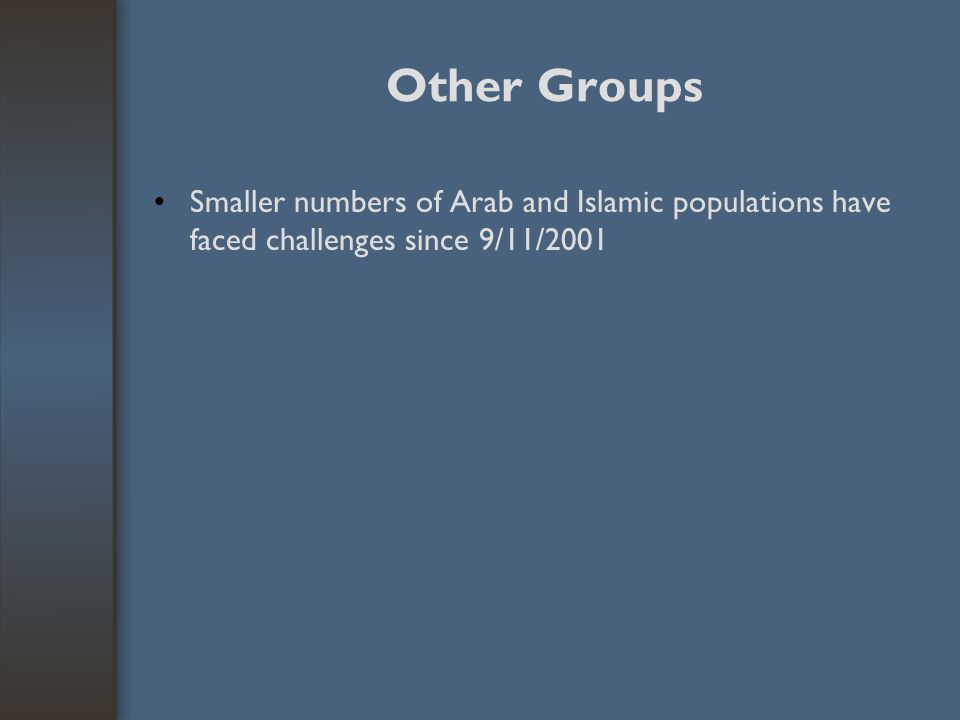 Other Groups Smaller numbers of Arab and Islamic populations have faced challenges since 9/11/2001