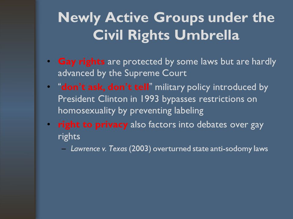 "Newly Active Groups under the Civil Rights Umbrella Gay rights are protected by some laws but are hardly advanced by the Supreme Court "" don ' t ask,"