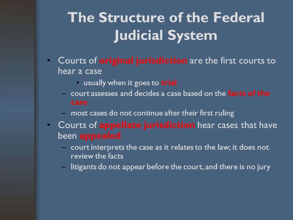 The Structure of the Federal Judicial System District courts (94 federal district courts) –have original jurisdiction –hold trials in which the litigants appear before the court –Federal district courts primarily handle the following types of cases: Cases violating federal law or involving federal civil law Civil suits in which the litigants are of different states Bankruptcy proceedings and process of naturalization –US attorney in each district serves as the government ' s lawyer –federal government is a plaintiff when prosecuting violators of the federal laws –government can be a plaintiff or defendant in a civil suit