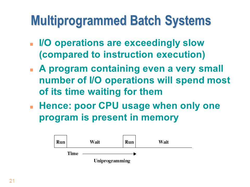 21 Multiprogrammed Batch Systems n I/O operations are exceedingly slow (compared to instruction execution) n A program containing even a very small nu