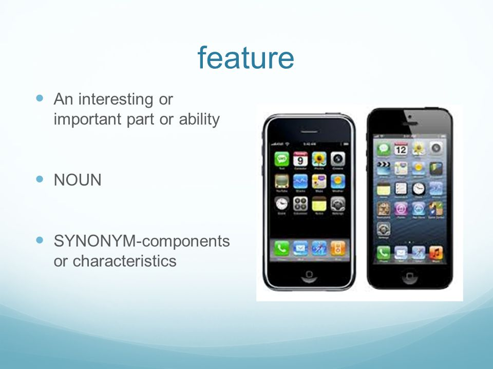 feature An interesting or important part or ability NOUN SYNONYM-components or characteristics
