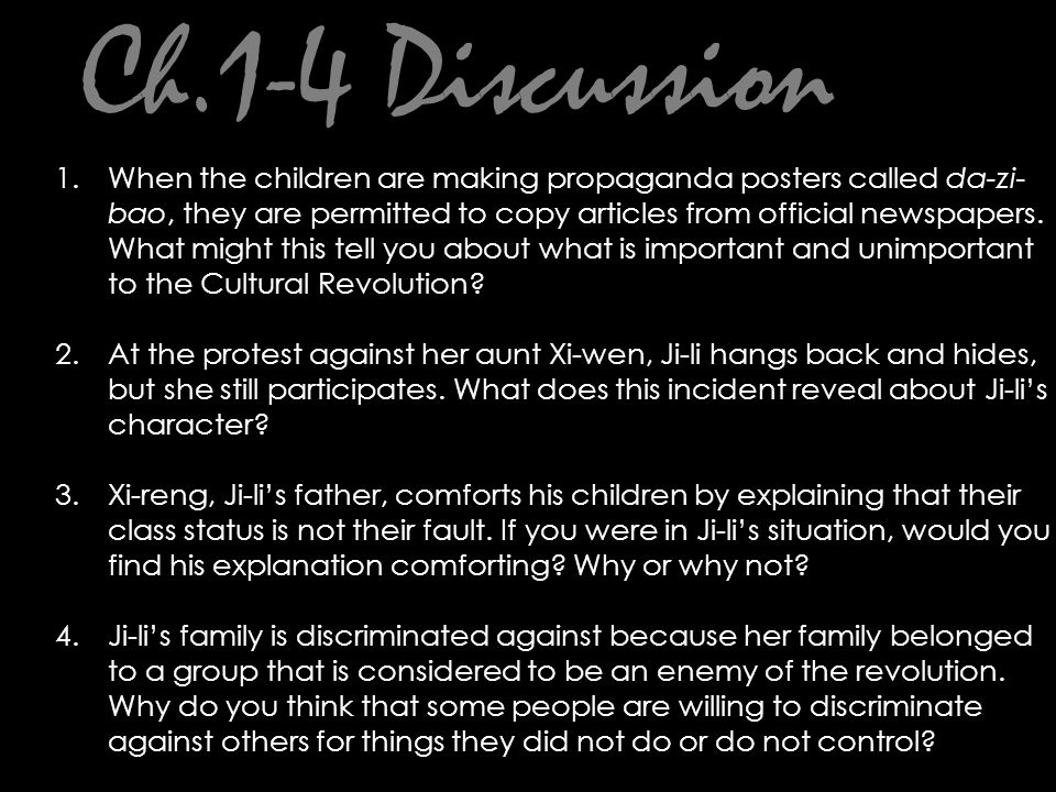 Ch.17 Journal Prompt: How does Jili resolve the conflict between her ties to her family and her duties to Chairman Mao.