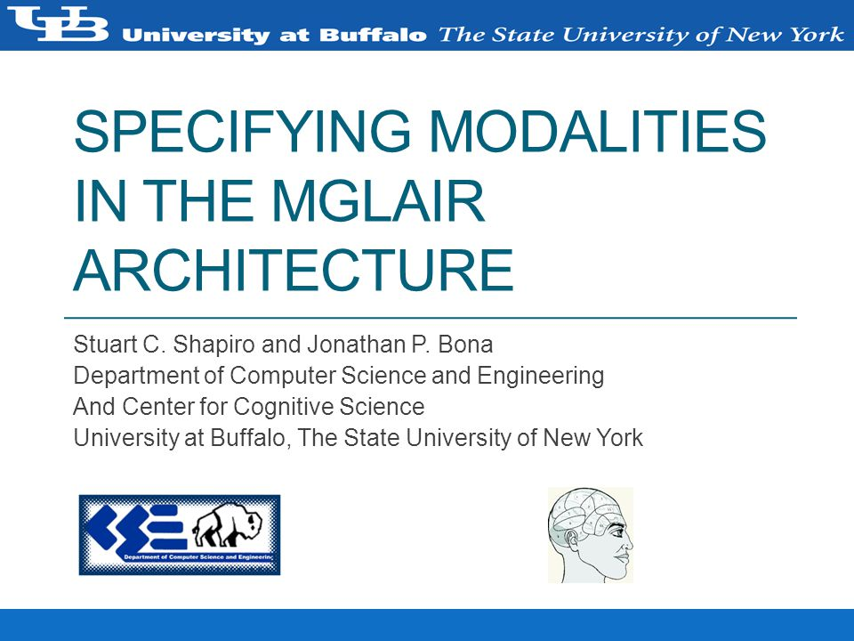 SPECIFYING MODALITIES IN THE MGLAIR ARCHITECTURE Stuart C.