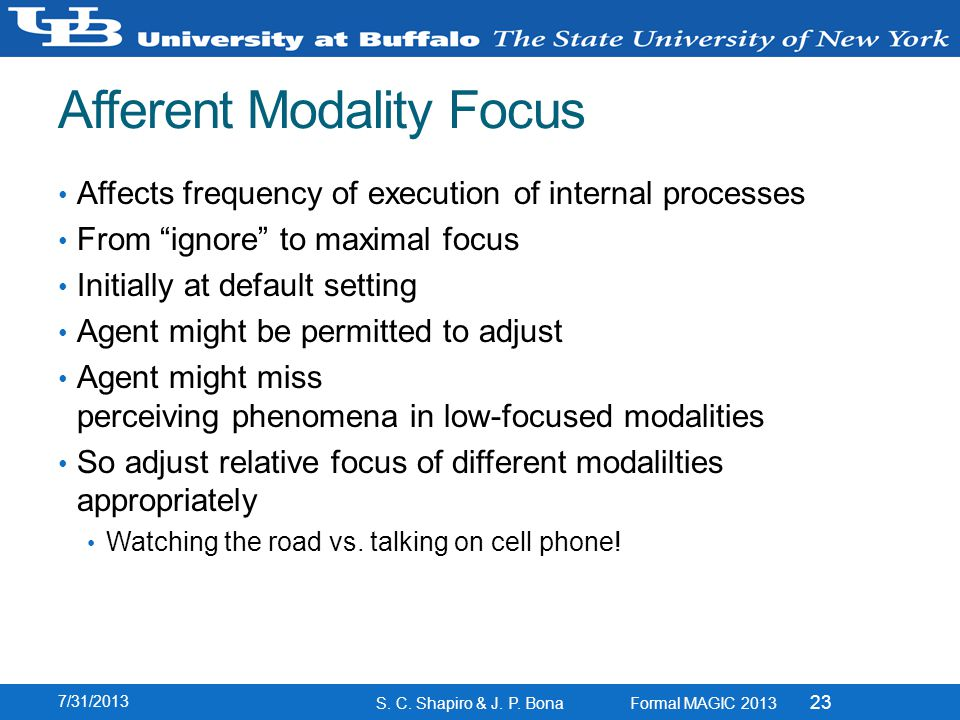 Afferent Modality Focus Affects frequency of execution of internal processes From ignore to maximal focus Initially at default setting Agent might be permitted to adjust Agent might miss perceiving phenomena in low-focused modalities So adjust relative focus of different modalilties appropriately Watching the road vs.