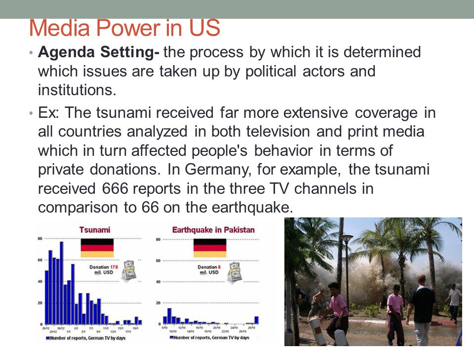 Media Power in US Agenda Setting- the process by which it is determined which issues are taken up by political actors and institutions. Ex: The tsunam