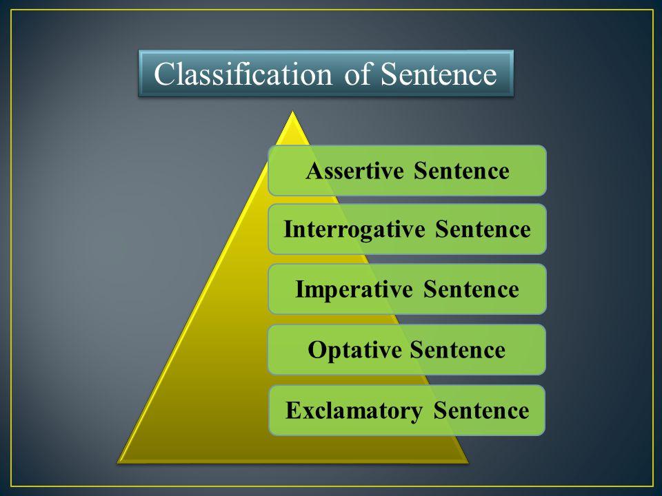 Classification of Sentence Assertive SentenceInterrogative SentenceImperative SentenceOptative SentenceExclamatory Sentence