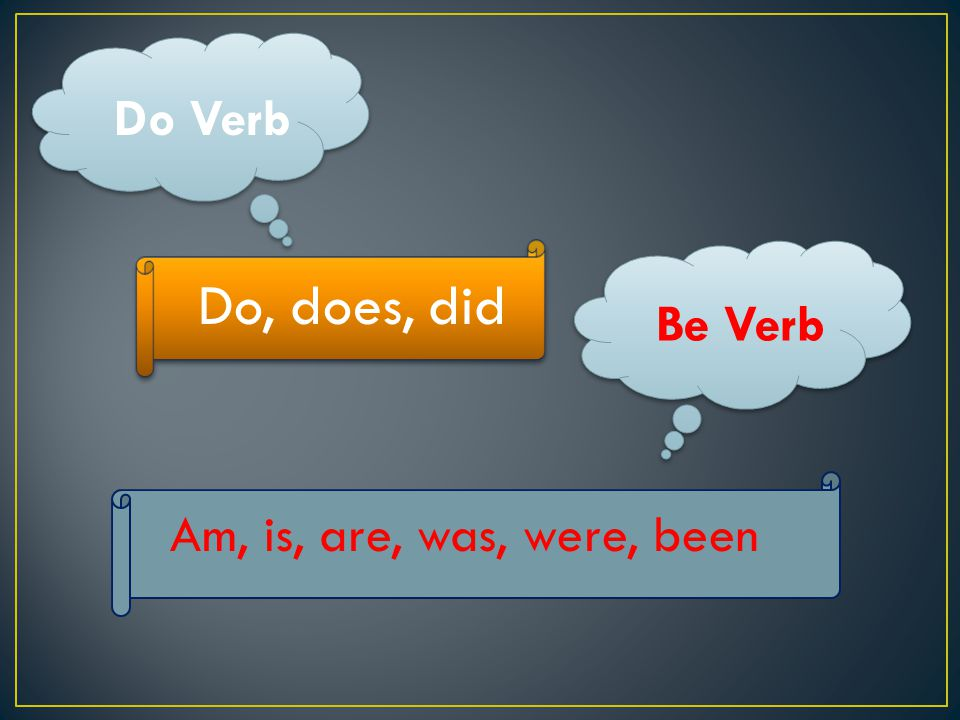 Do Verb Do, does, did Be Verb Am, is, are, was, were, been