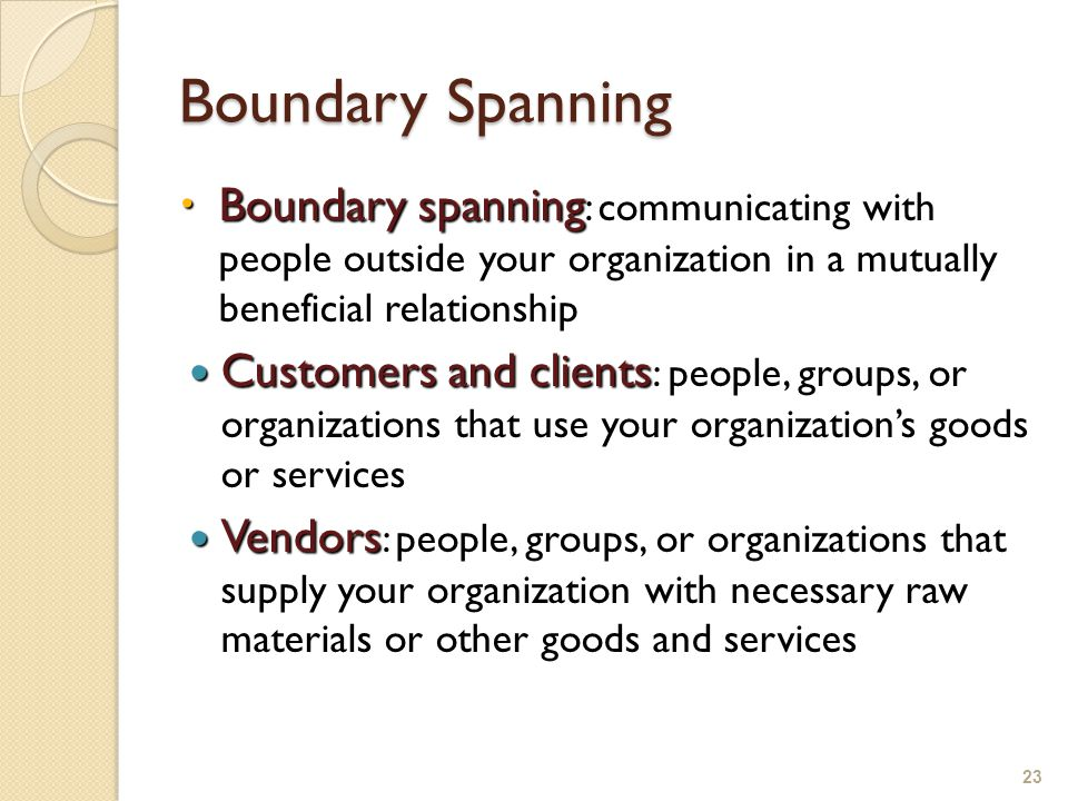 Boundary Spanning  Boundary spanning  Boundary spanning : communicating with people outside your organization in a mutually beneficial relationship Customers and clients Customers and clients : people, groups, or organizations that use your organization's goods or services Vendors Vendors : people, groups, or organizations that supply your organization with necessary raw materials or other goods and services 23