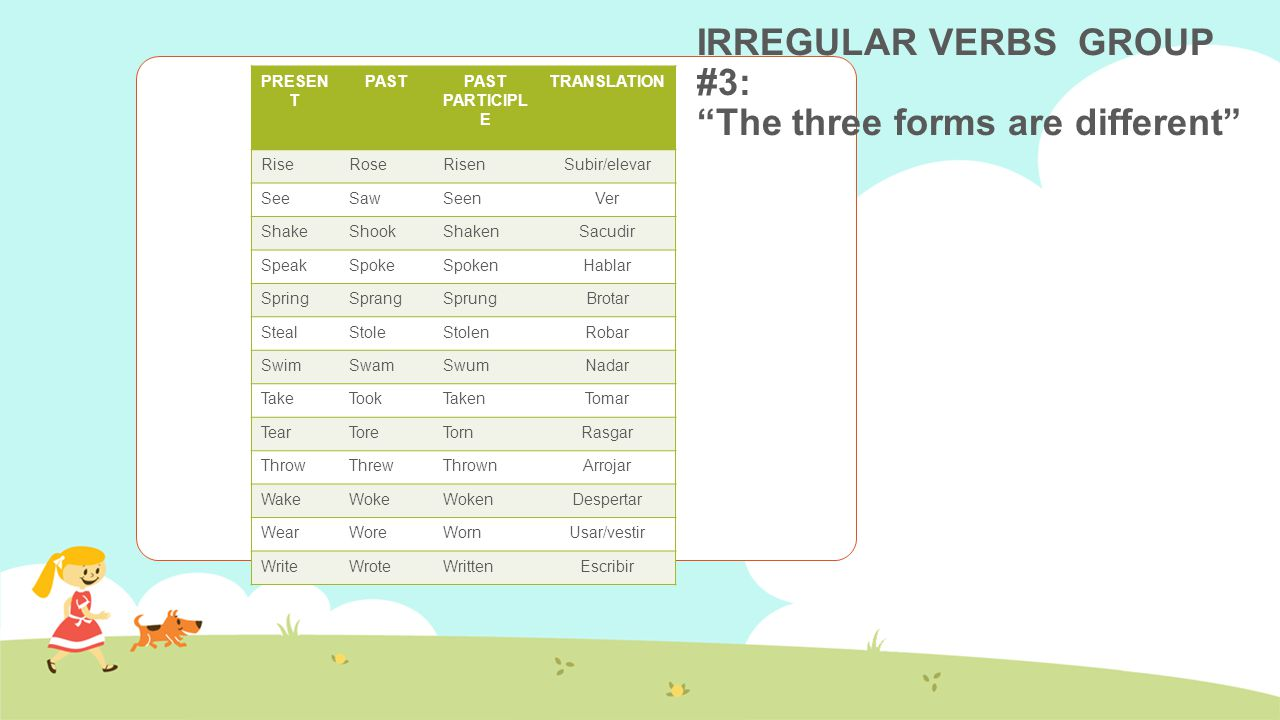 In the link below you will find a video with more important information about the irregular verbs http://www.youtube.com/watch?v=ZJ-lhKD4Jxs In the link below you will find more theory about the irregular verbs and exercises for practicing http://www.agendaweb.org/verbs/past_simple-exercises.html http://www.youtube.com/watch?v=_AasChgjWBI In the link below you will find a song in order to practice and remember some irregular verbs.