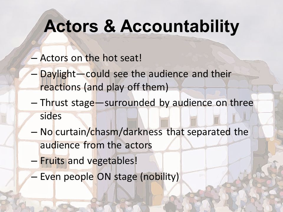 Actors & Accountability – Actors on the hot seat.