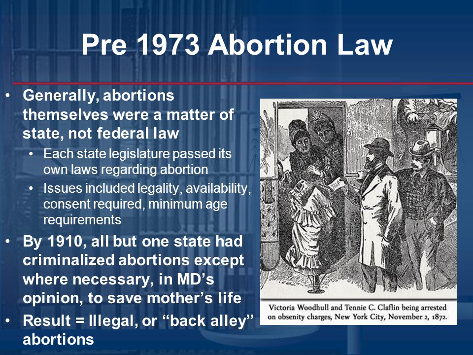 Pre-1973 Abortion Law Abortion laws in the United States prior to Roe v.