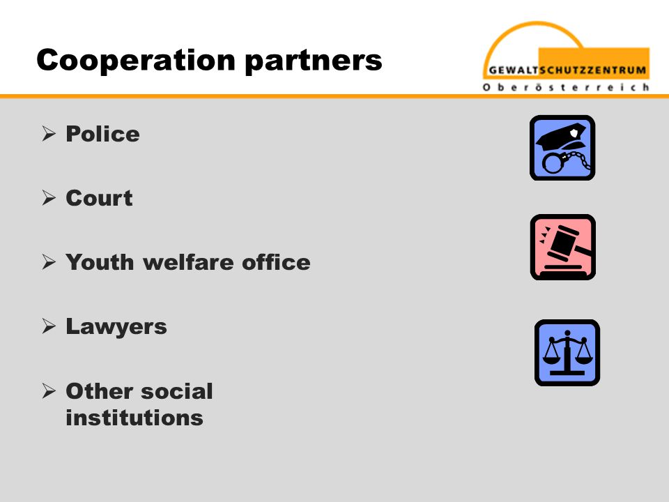 Cooperation partners  Police  Court  Youth welfare office  Lawyers  Other social institutions