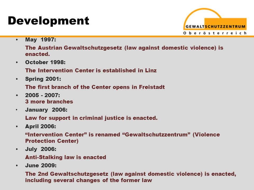 Development  May 1997: The Austrian Gewaltschutzgesetz (law against domestic violence) is enacted.