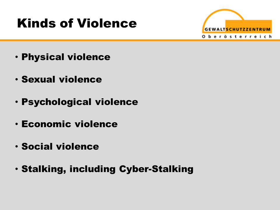 Kinds of Violence Physical violence Sexual violence Psychological violence Economic violence Social violence Stalking, including Cyber-Stalking