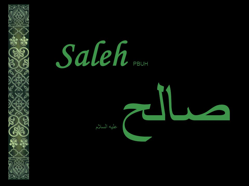 Saleh عليه السلام صالح But they killed her.